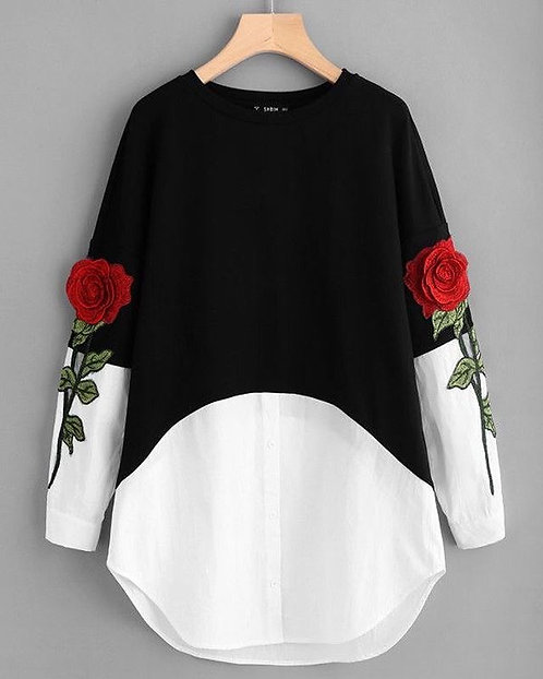 Black and White Embroidered Shirt