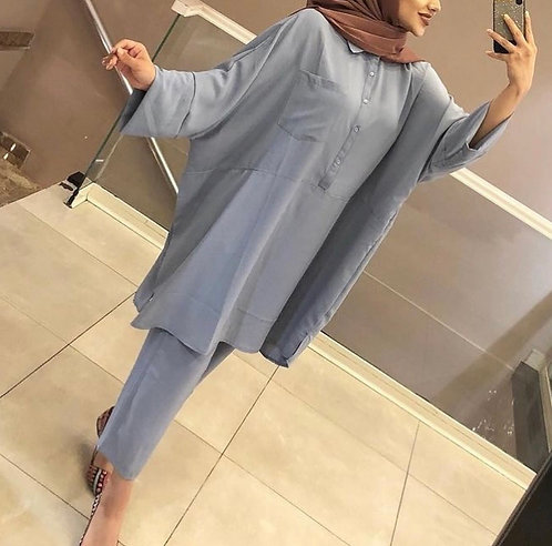 Blue Baggy Shirt with Trousers