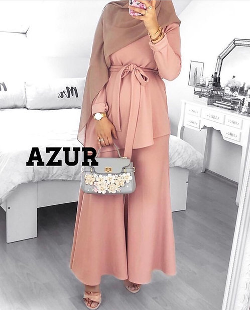 Pink Dress with Loose Trousers