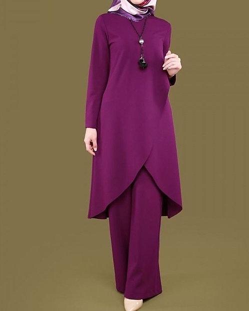 Dark Purple Overlap Shirt with Trousers