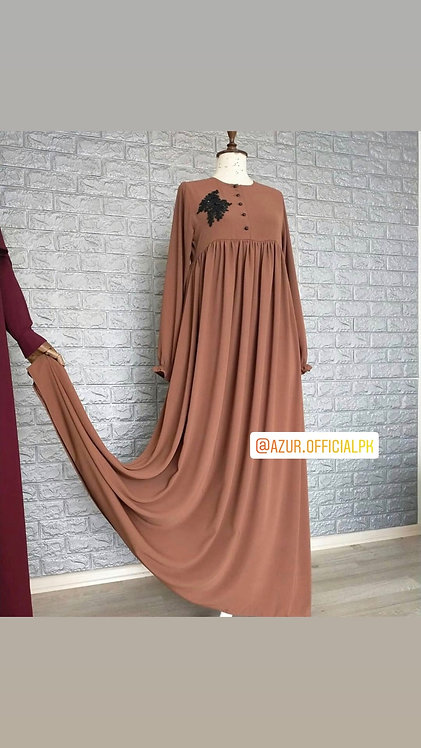 Beige abaya with motif