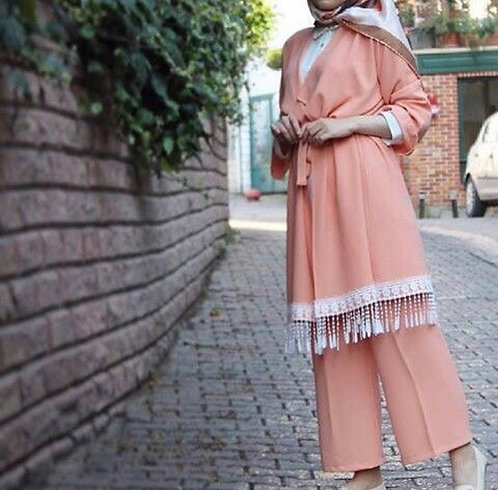 Pink Gown with Trousers
