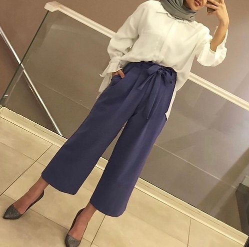 White Shirt with Navy Blue Bow Trousers