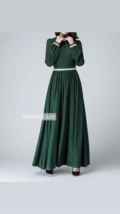 Green frock with lace belt
