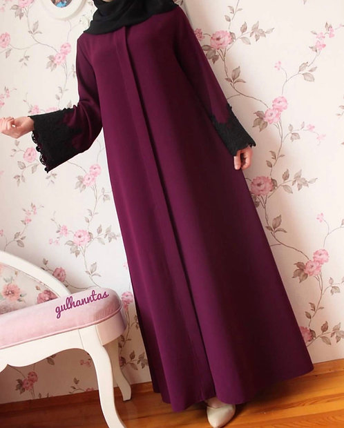 Maroon Abaya with Black Sleeves
