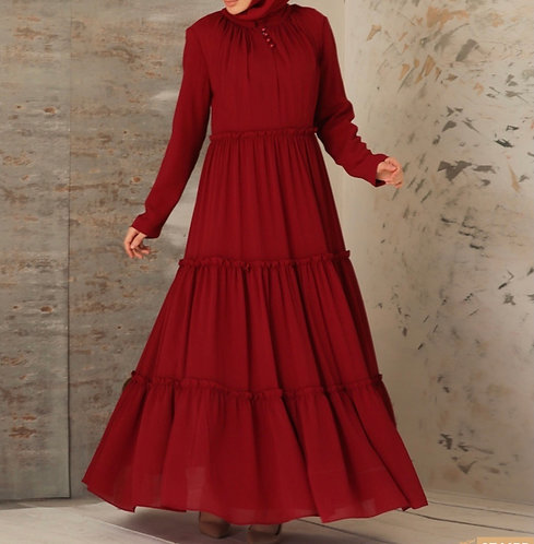 Maroon dress with frills