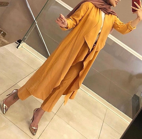 Mustard Gown with Trousers (2pc)