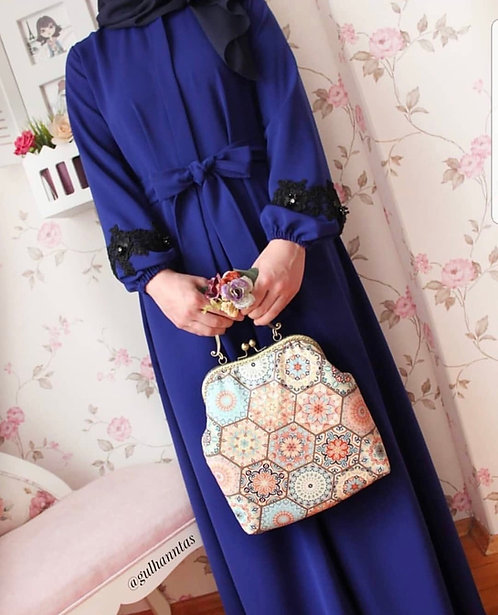 Royal Blue Abaya with Black bunches