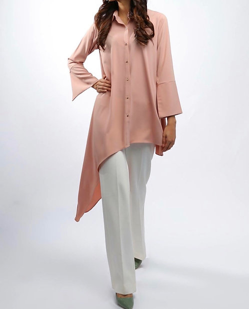Pink Side Drop Shirt with White Trousers