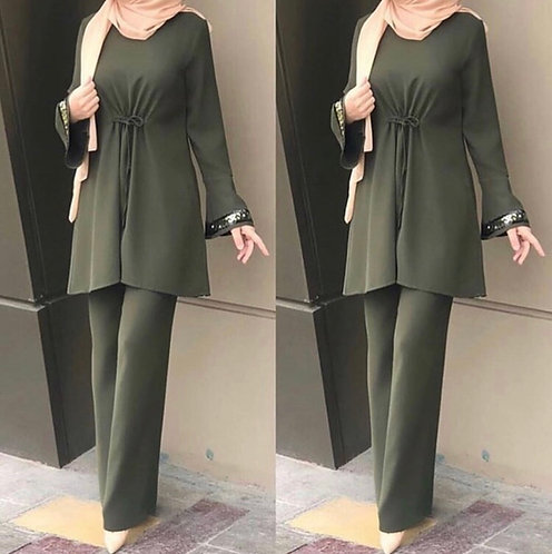 Green Dress with Trousers