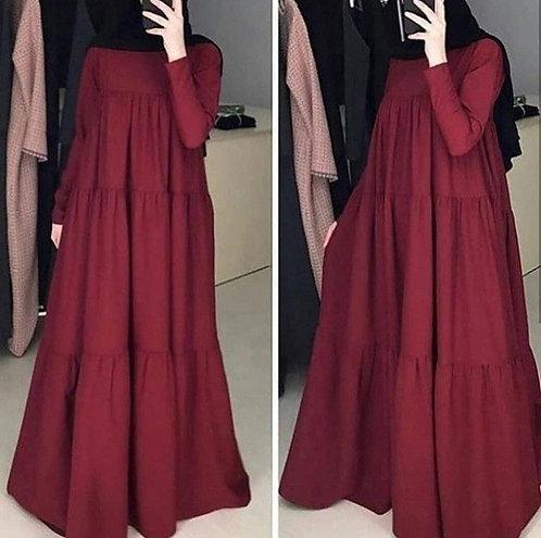 Maroon Frills Abaya