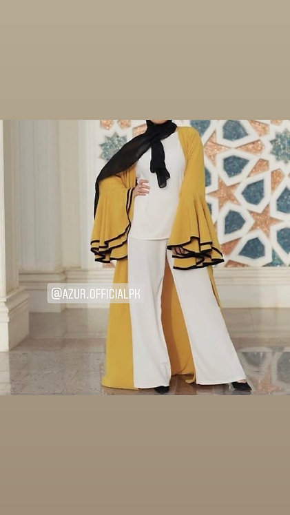 Yellow gown with white dress