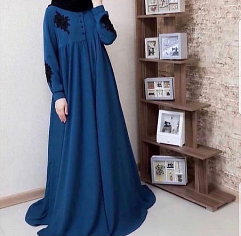 Navy Blue Abaya with Black Bunches