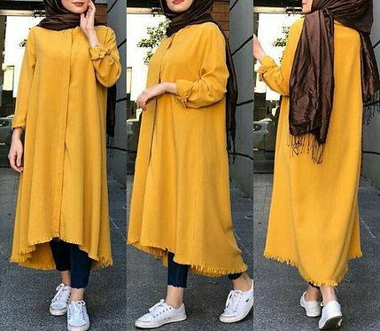 Mustard Front Open Shirt