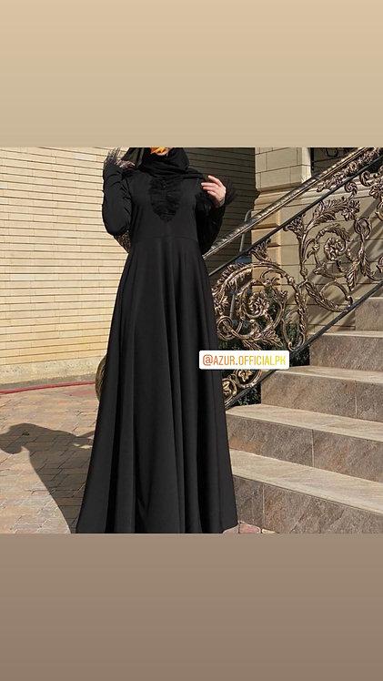 Abaya with organza frill