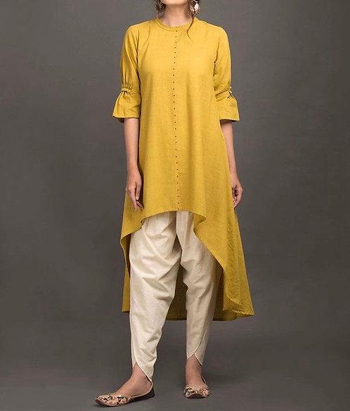 Mustard shirt with Tulip shalwar