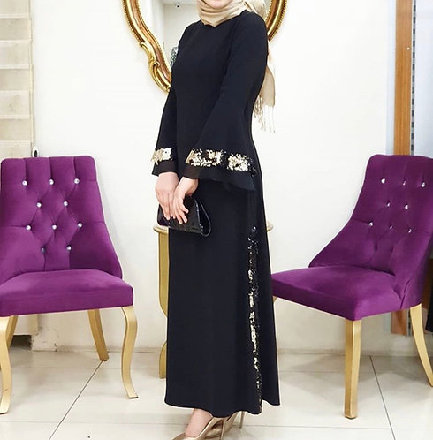 Black Long Shirt with Gold Sequin