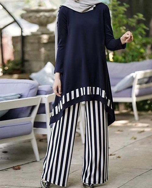 Striped Pants with Black Shirt