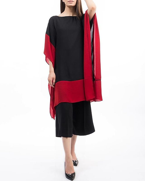 Black and Red Cape with Trousers