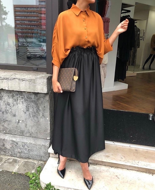 Orange Shirt with Black Skirt