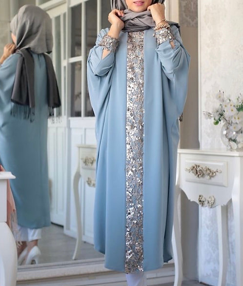 Abaya with Silver Trims