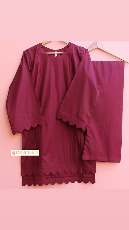 Burgundy shirt and trousers