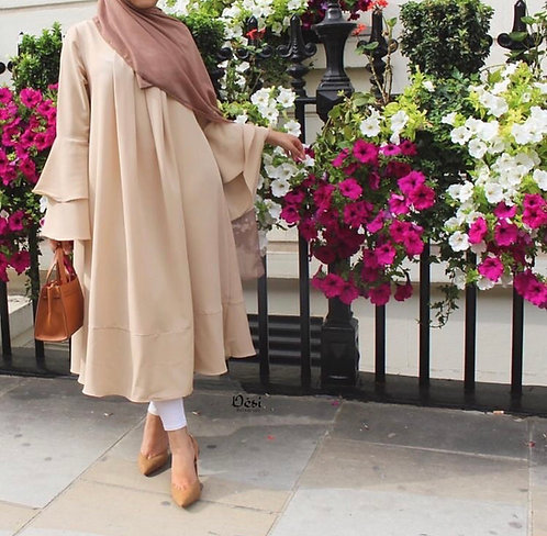 Peach Frock with Double Frill Sleeves