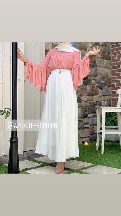 frill shirt with chiffon skirt