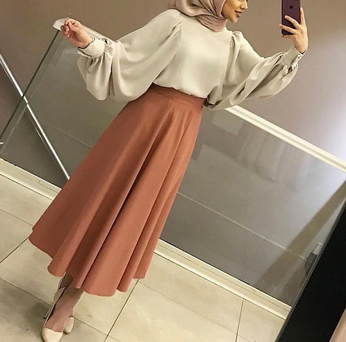 Beige Shirt with Brown Skirt