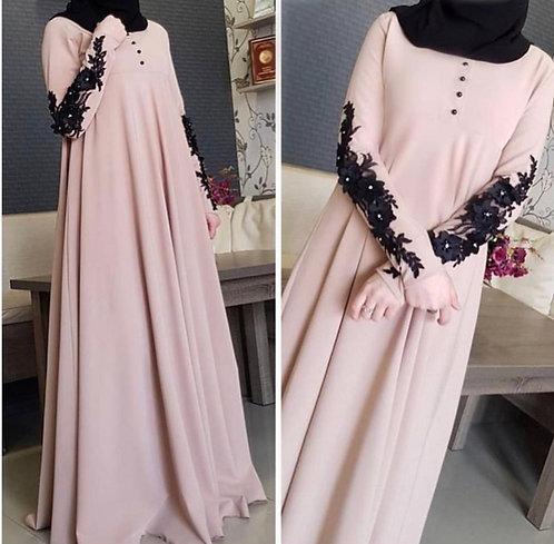 Abaya with Black Sleeve Bunch