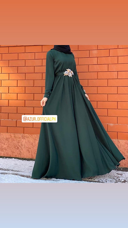 Long frock with floral belt