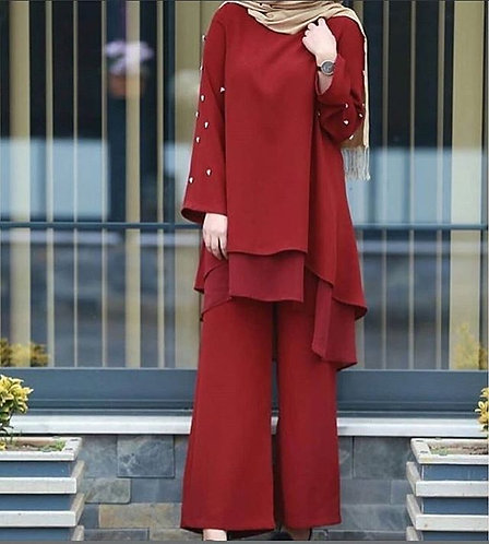 Maroon Dress with Pearl Sleeves