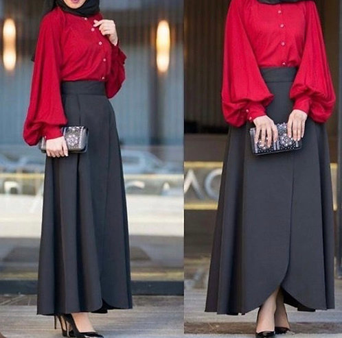Red Shirt with Overlap Skirt