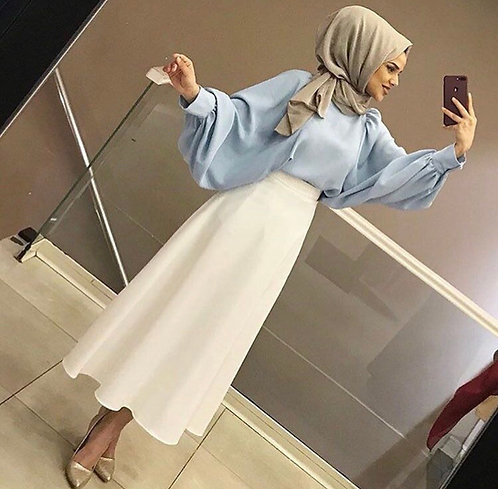 Blue Shirt with White Skirt