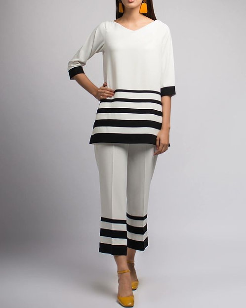 White Dress with Black Stripes