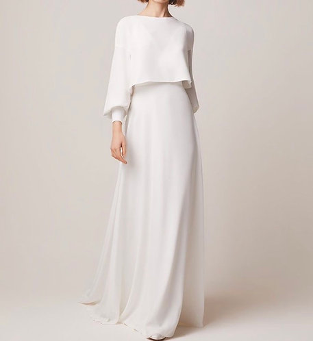 White dress with attached cape