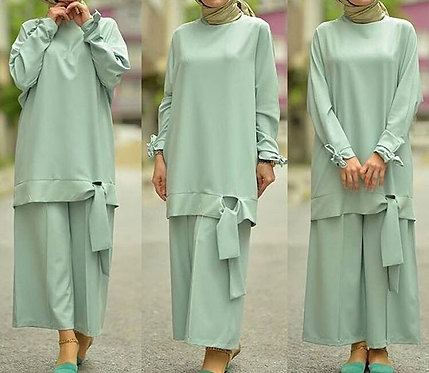 Mint Green Suit with Bow Edging