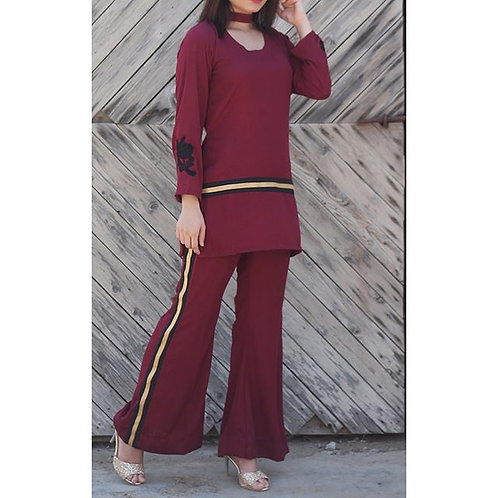 Maroon Dress with Gold Trims