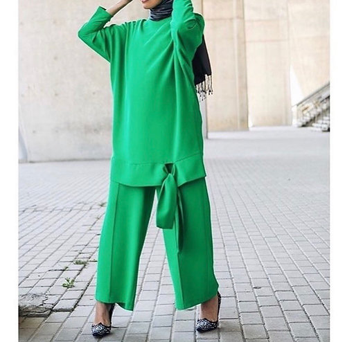 Green Dress with Bow Edging