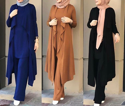 Gown with shirt and trousers