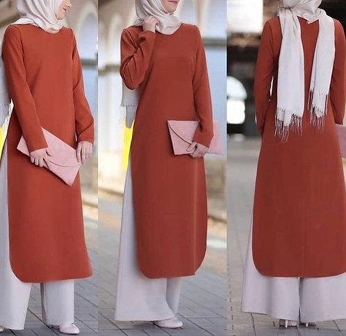 Rust Long Shirt with Beige Trousers