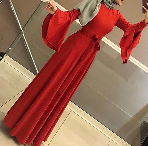 Red Frock with Bell Sleeves