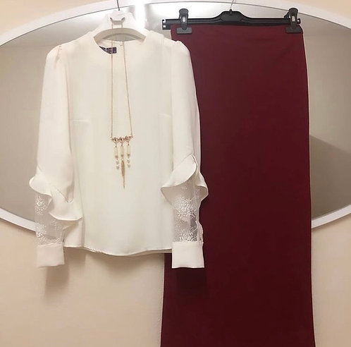 White Shirt with Maroon Skirt