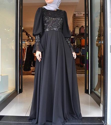 Black Sequin Maxi