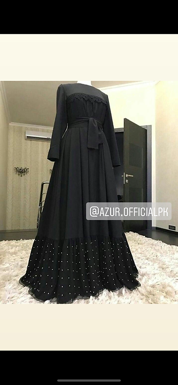 Black Abaya with pearl frill