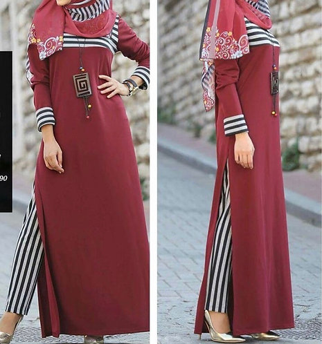 Maroon Shirt with Stripe Pants
