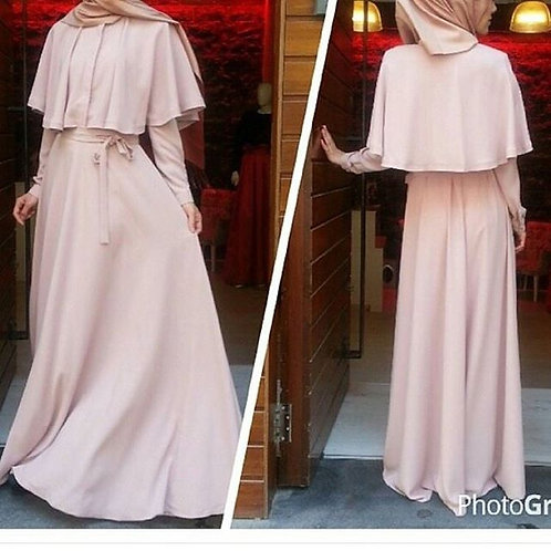 Light Pink Abaya with Cape