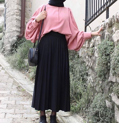 Pink Shirt with Black Skirt