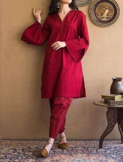 Maroon shalwar suit