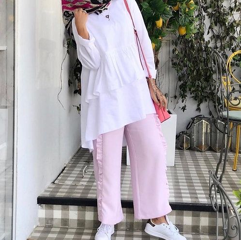 White Shirt with Pink Trousers